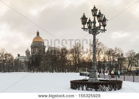 Saint Isaac cathedral in St Petersburg in the early winter morning, Russia
