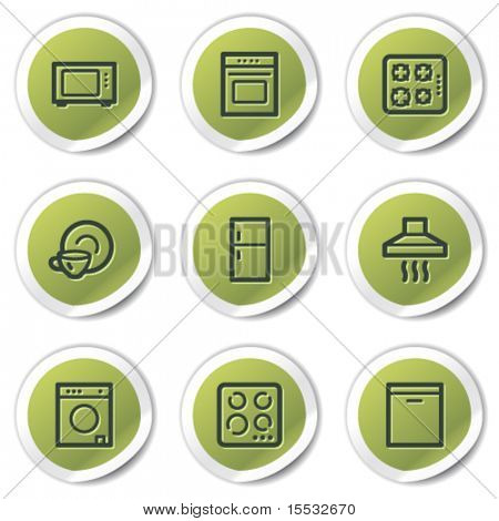 Home appliances web icons, green circle stickers