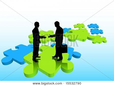Businessmen shaking hands on puzzle pieces.