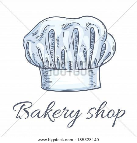 Bakery shop emblem of baker chef toque hat. Traditional chef hat with folds. Vector isolated doodle sketch label for cafe, restaurant, bakery, patisserie