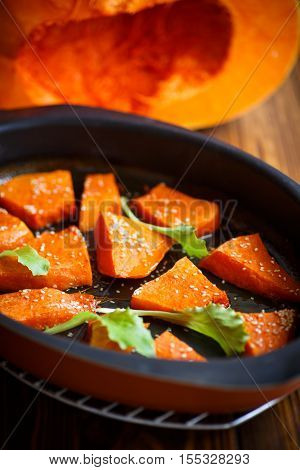 Pumpkin Baked With Honey And Sesame Seeds