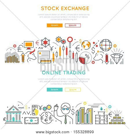 Stock market horizontal linear banners with exchange transactions and online trading isolated vector illustration