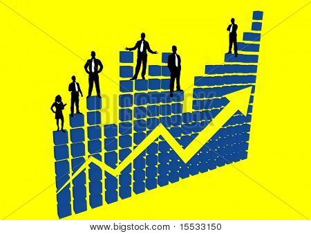 people standing on a large graph of profit