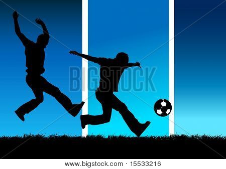 Illustration of two people playing football.