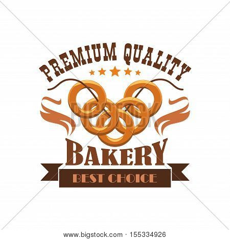 Bakery emblem. Bread bagel bunch. Business label for bread product shop with vector elements of wheat loaf, pretzel, bun on thread.
