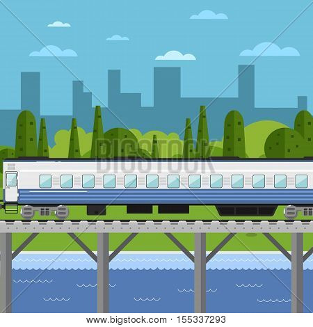 Side view of passenger train moving on bridge on background of cityscape vector illustration. Public transport. Railway transportation and railroad industry design concept. Travel train