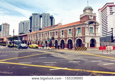 Chinatown and business downtown in Singapore. Junction street scene.