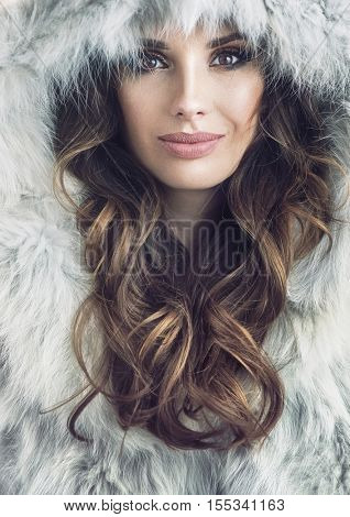 Christmas girl, portrait of a young beautiful woman