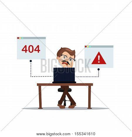 error 404 people cartoon laptop frustrated vector