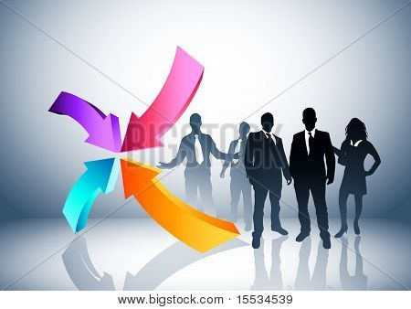 People and direction concept. Vector illustration.