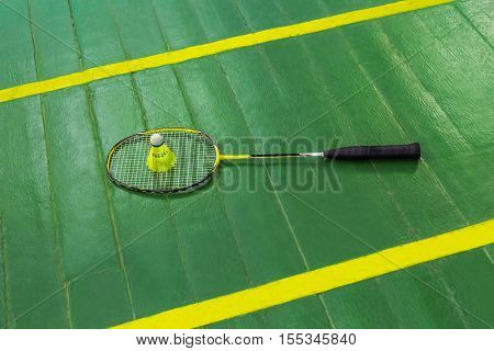 Badminton racket and shuttlecock - sport background