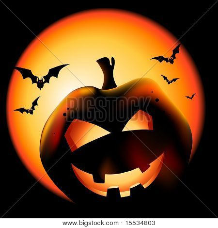 Grinning Halloween lantern vector illustration.