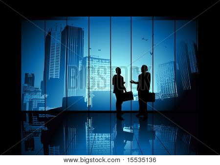 Two businessmen shaking hands looking over the city. Vector illustration.