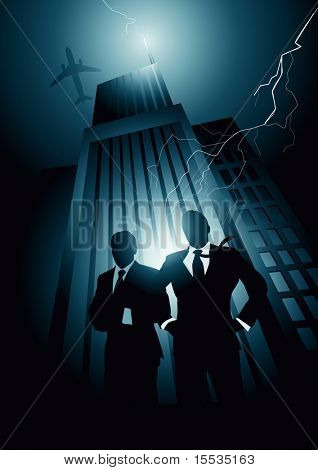High energy with two corporate leaders. Vector illustration.