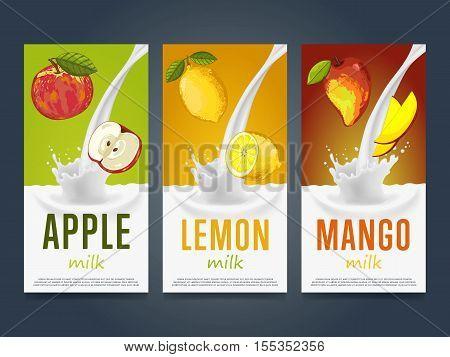 Milkshake concept with milk splash and fruit vector illustration. Milk dessert, yogurt, fruit mix, cocktail drink, fruit smoothie with apple, lemon and mango packaging design template. Dairy product.