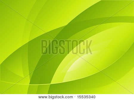 Abstract curves of green light. Vector illustration