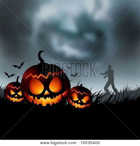 Scary halloween evening vector illustration!