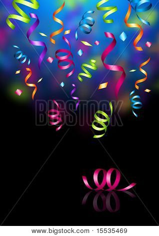 Celebrations! Streaming party confetti. Vector illustration.