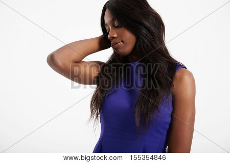 Black Woman Touches Her Straight Long Hair
