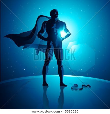 Vector Superhero on top of the world.