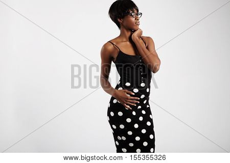 Beauty Black Woman With Short Haircut Wears Kitty Glasses