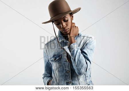 Black Woman Wears Hat And Jeans Jacket