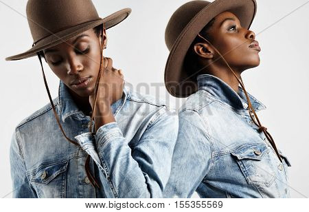 Two Portraits In One. Black Woman In Hat