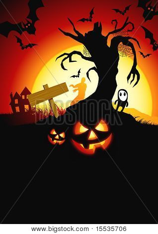 A scary vector halloween background!