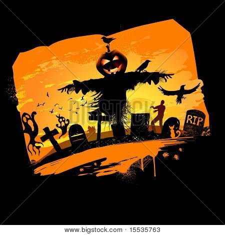 Halloween vector background design with room for text.