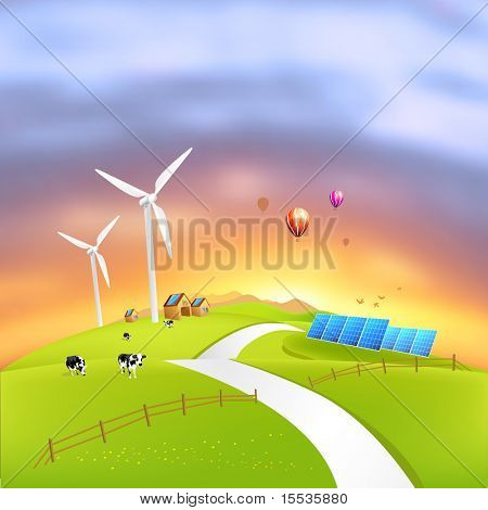 Beautiful Clean Energy - vector illustration