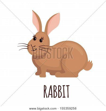 Cute Rabbit in flat style isolated on white background. Vector illustration. Farm animal icon. Cartoon Rabbit.
