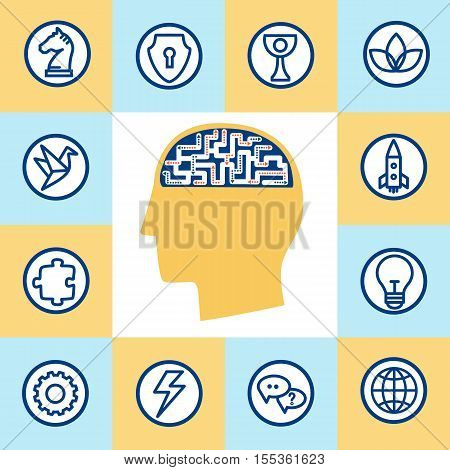 Set modern icons in flat linear style of the human process mind and emotions. Vector concepts of the brain for web graphics.
