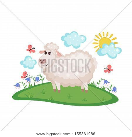 Cute sheep on a meadow with flowers and butterflies isolated on white background. Farm animal. Sheep in cartoon style. Vector illustration.
