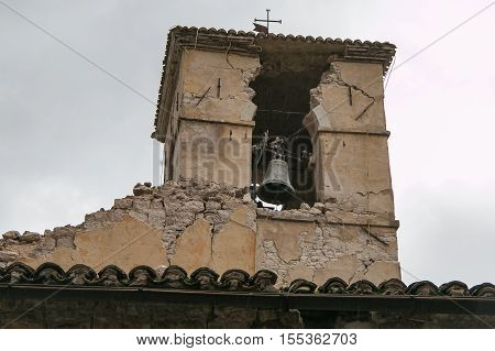 The collapse of bell tower in the historic center of Visso