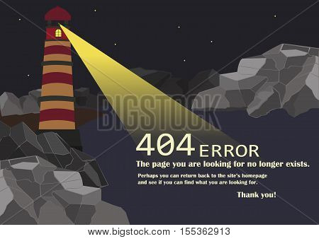 Page not found 404 error with the image of a lighthouse against the background of rocks, the night sky and dark water.