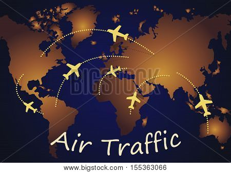 The image of air routes of airplanes between continents on a dark blue background with text air traffic .