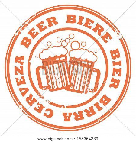 Grunge rubber stamp with beer mugs and the text Beer written inside the stamp, vector illustration