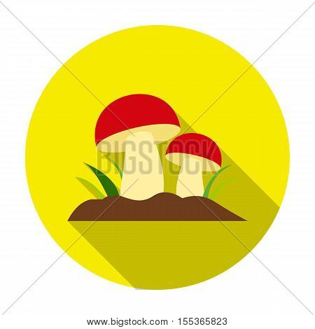 Mushroom icon in flat style isolated on white background. Plant symbol vector illustration.