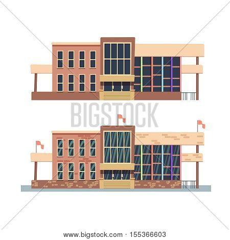 School building on white background. Building university with flag, building of institute college in flat style. Vector illustration
