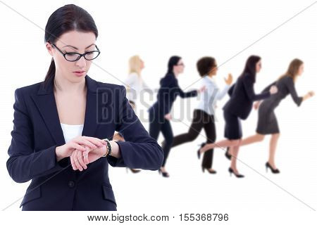 deadline concept - young business woman boss checks time on wrist watch and her running colleagues isolated on white background