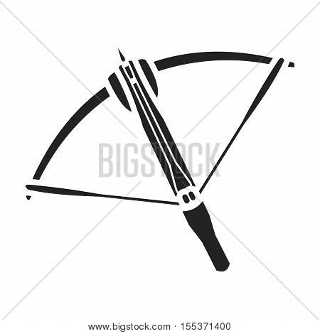 Crossbow icon in black style isolated on white background. Weapon symbol vector illustration.