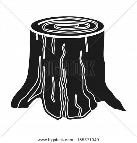 Tree stump icon in black style isolated on white background. Sawmill and timber symbol stock vector illustration.
