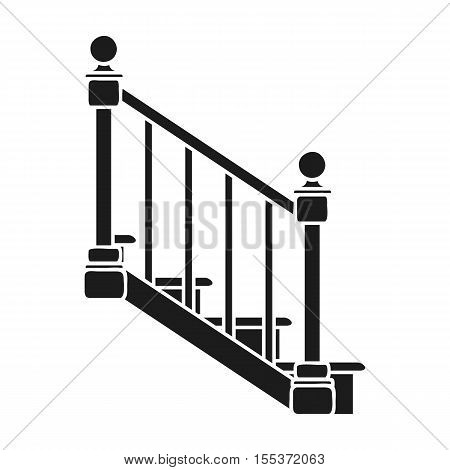 Stairs icon in black style isolated on white background. Sawmill and timber symbol vector illustration.