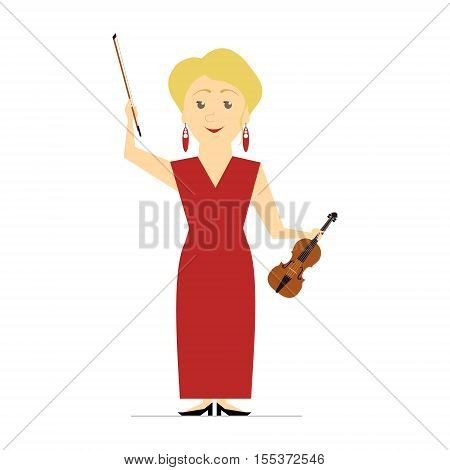First violin. Girl violinist. Vector flat isolated