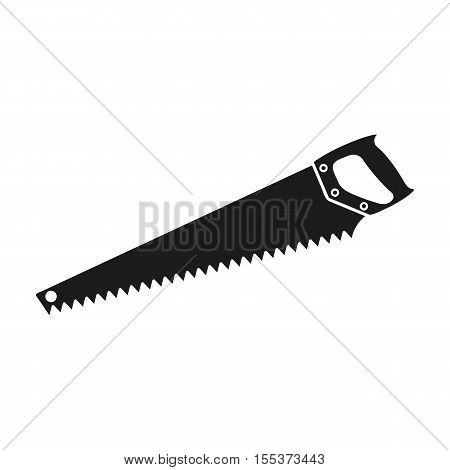 Hand saw icon in black style isolated on white background. Sawmill and timber symbol vector illustration.