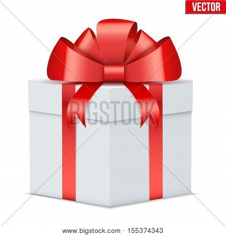 Classic Gift Box. White box with red bow and ribbon. Holiday present and surprise. Vector Illustration Isolated on white background.