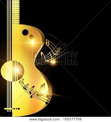 dark background and abstract big golden guitar with notes