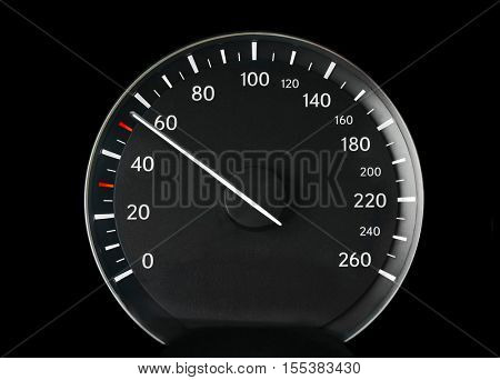 Speedometer of a car showing 50