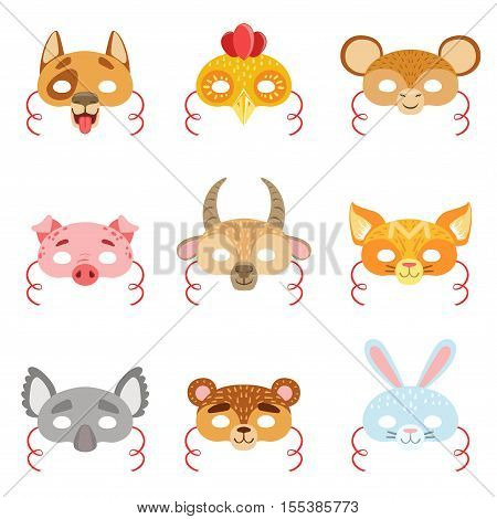 Animal Paper Masks Set Of Items. Masks For Kids Carnival Costumes In Simple Colorful Style Isolated On White Background.