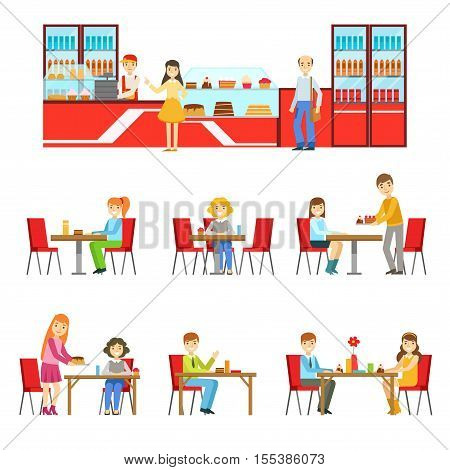 People In Sweet Pastry Cafe Set Of Illustrations. Tables And Counter With Happy Clients Primitive Flat Vector Drawings On White Background.